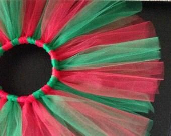 Red and green tutu- Christmas tutu- Handmade Christmas tutu- Red Christmas tutu-Toddler tutu skirt-Christmas baby tutu- green tutu