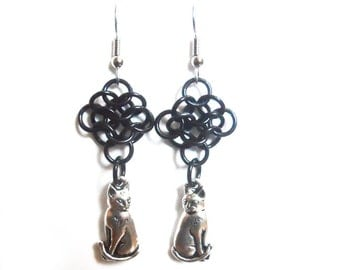 Cat earrings, Chainmaille rosettes weave, Black cat jewelry, Halloween cats