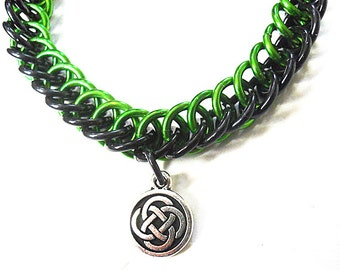 Celtic knot bracelet, Silver Celtic knot jewelry, Green and black chainmaille bracelet, Half Persian 3-in-1 weave