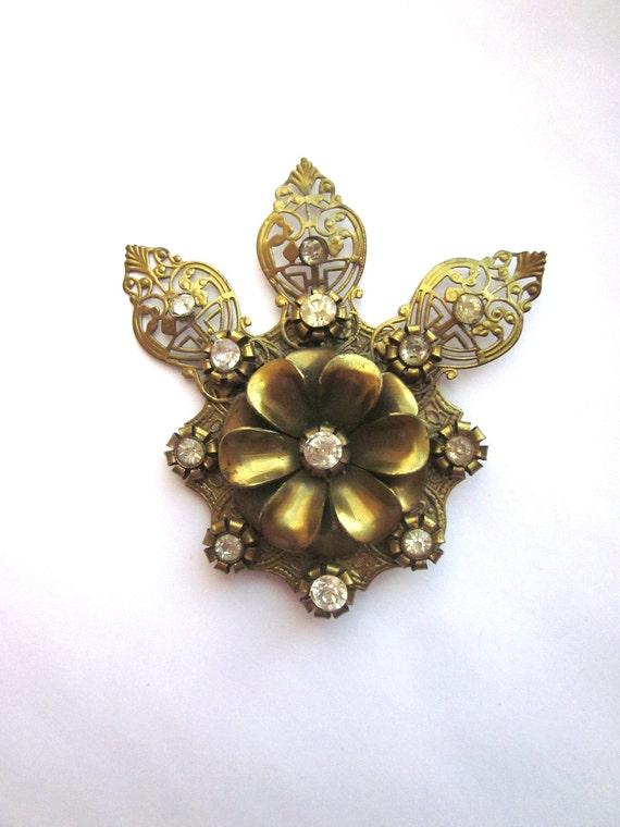 Vintage Rhinestone Fur Clip Art Nouveau Jewelry Shoe Dress Clip