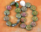 Iridescent Moon Face 13mm Glass Beads 60% off, qty 20