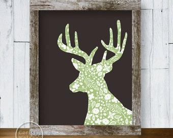 Mint Deer Wallpaper Silhouette Printable Art 8x10