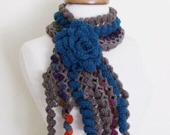 Ringlet Scarf With Flower Brooch (Dark Blue Gray)-Handmade Scarf-Women Accessories