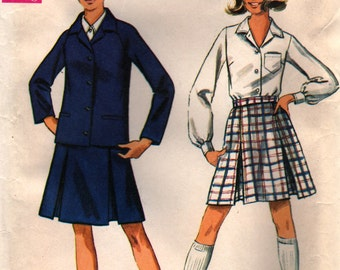 60s Sewing Pattern Misses Jacket, Skirt & Blouse, Simplicity 8312, Size 12, Bust 34