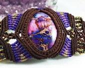 Purple Sea Sediment Jasper Micro Macramé Beaded Bracelet