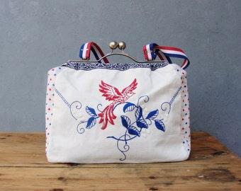 Bird of Freedom Bag - Vintage Embroidery, Linen, Hand Woven Fabric, Kiss-lock