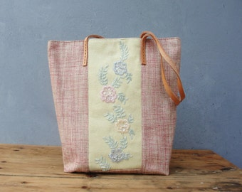 Sweet Life Tote Linen, Leather and Beaded Embroidery Tote Bag