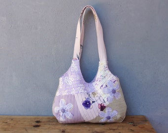 Lavender Purse - Quilted, Orinuno Vintage Fabrics