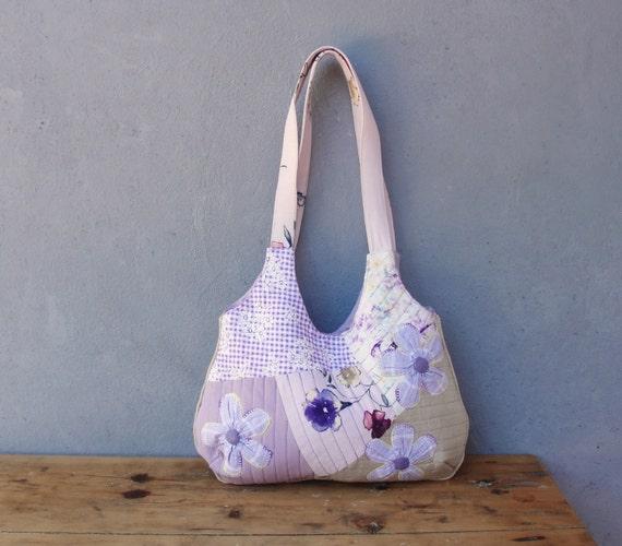 Lavender Purse - Quilted, Orinuno Vintage Fabrics