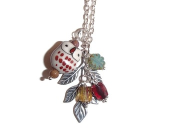 Owl Necklace. Owl Jewelry. Long Owl Necklace. Nature Inspired Jewelry. Bird. Leaf