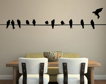 Bird on Wire Wall Decal - LARGE