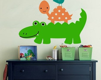 Alligator Turtle Bird Vinyl Wall Decal