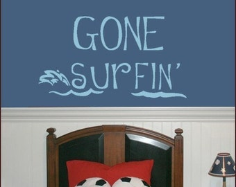 Wall Decal - Childrens Vinyl Wall Decal - GONE SURFIN - LARGE