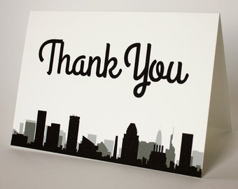Baltimore Thank You Card Wedding Event Skyline City Folded Sized A6 Maryland Choose Fonts