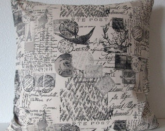 Pillow Cover - French script charcoal - French Stamp - French Script - Cushion Cover - Decorative Pillow Cover