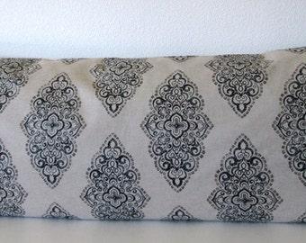 Pillow Cover - Monroe Mercury - Black - Oatmeal - Medallion - 20x54 - Decorative Body pillow case