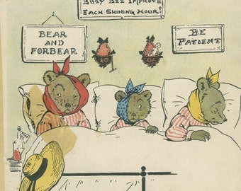 Injured Bears Sadder Wiser, 1900's Jumbo Book Page 41, Antique Nursery Decor, Harry Neilson, Anthropomorphic Kids Bedroom Decor, Nursery Art