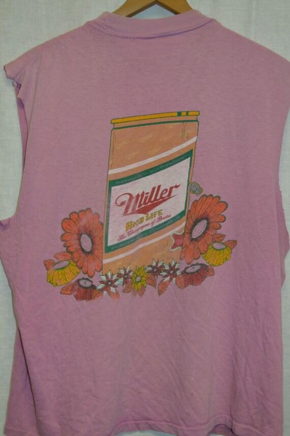 Vintage miller beer muscle style t shirt shirt 70 39 s top for Vintage miller lite shirt