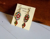 Upcycled Vintage Tin Earrings Crystal Accent