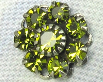 Rhinestone Bead Swarovski Olive green Crystal rhinestone flower silver setting