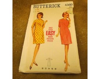 Misses' One Piece Dress Pattern – Slim Dress – Size 12  Butterick Dress Sewing Pattern 4360