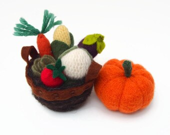 miniature vegetables, wool felt vegetables, dollhouse veggies, gardening gift,