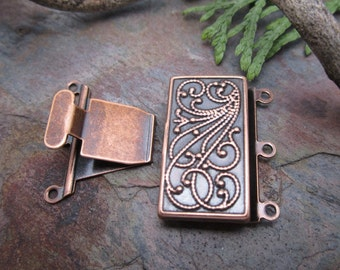 Bali Style Antique Copper 3 Strand Clasp