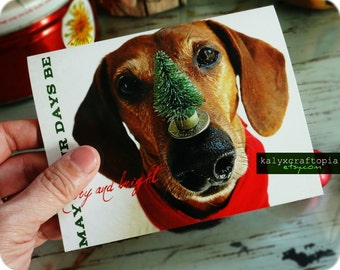 Merry and Bright Super Cute Dachshund Christmas Card Single