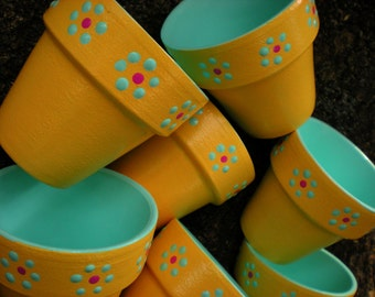 Small Painted Flower Pots - Bright Yellow - Aqua Blue - Set of 10