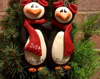 Personalized Penguin Couple Ornament.