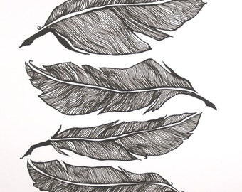 Feather Stack Original Pen Drawing . Black and White Art . Line Feather Art . Four Feathers . Line Drawing