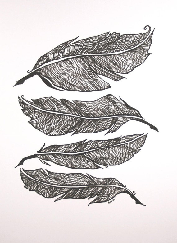 Line Art Feather : Feather stack original pen drawing black and white art