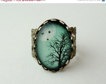 15% OFF SHOP SALE- Aqua Turquoise Winter Tree Filigree Statement Ring. Birds. Winter Tree. Full Moon. Sky