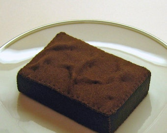 Pretend Felt Play Food - Chocolate Brownie with Fudge Frosting