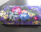 """SALE: """"Garden Party"""" Purple Floral Cotton Sari Kantha Quilt – Twin or Full Size Bedspread - Colorful, Reversible Design - Ships from US"""