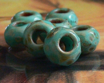 Turquoise Picasso Roller Large Hole Rondelle 6 Czech Faceted Glass Beads 13mm