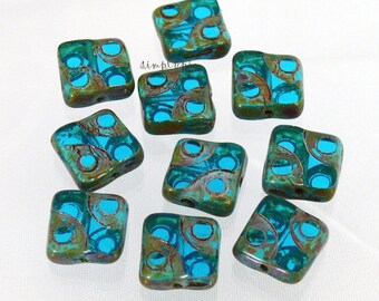 Capri Blue Picasso Carved Square Czech 10mm 10 Glass Beads