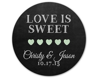 Custom Wedding Favor Stickers - Personalized Favor Labels - Chalkboard Labels - Love is Sweet Stickers - Favor Labels - Hearts