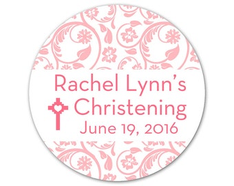 Personalized Baby Christening Stickers - Custom Labels - Christening Labels - Damask Stickers - Choose Your Colors
