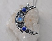 Moon Magic Necklace Sterling Silver and Rainbow Moonstone