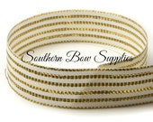 7/8 inch Grosgrain Ribbon-----3 Yards-----Small Stripes-----White and Gold Tinsel