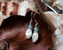 Ivory Mother of Pearl, Sterling Silver, and Peruvian Chalcedony Earrings