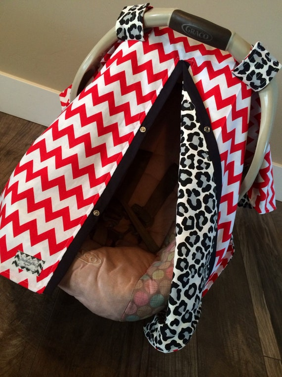 Car seat Canopy Red Black and Grey  / Car seat cover / car seat canopy / carseat cover / carseat canopy / nursing cover