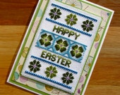 Happy Easter Floral Handmade Cross Stitch Card in Green and Blue