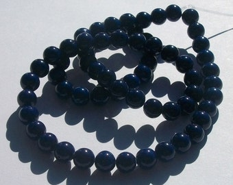 Riverstone,  Gemstone Rounds hand cut dyed 1 strand Dark Blue - Available in 4mm, 6mm, 8mm, 10mm and 12mm