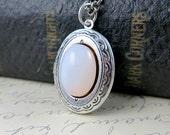 White Opal Locket Necklace Opal Necklace Antique Silver Locket Opal Pendant Oval Locket October Birthstone