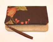 Foldover Clutch in Brown Floral and Coffee Bag Jute