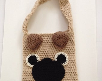Crochet pug dog purse