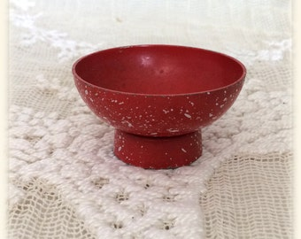 Vintage Metal Dollhouse Miniature Red and White Spatterware Enameled Footed Bowl