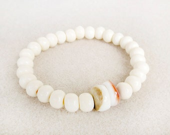 Boho Creamy White Mala Style Bracelet, Neutral, Natural Bone and Shell, Stretch, Stacking, Yoga Zen Meditation, Handmade Bracelet Jewelry